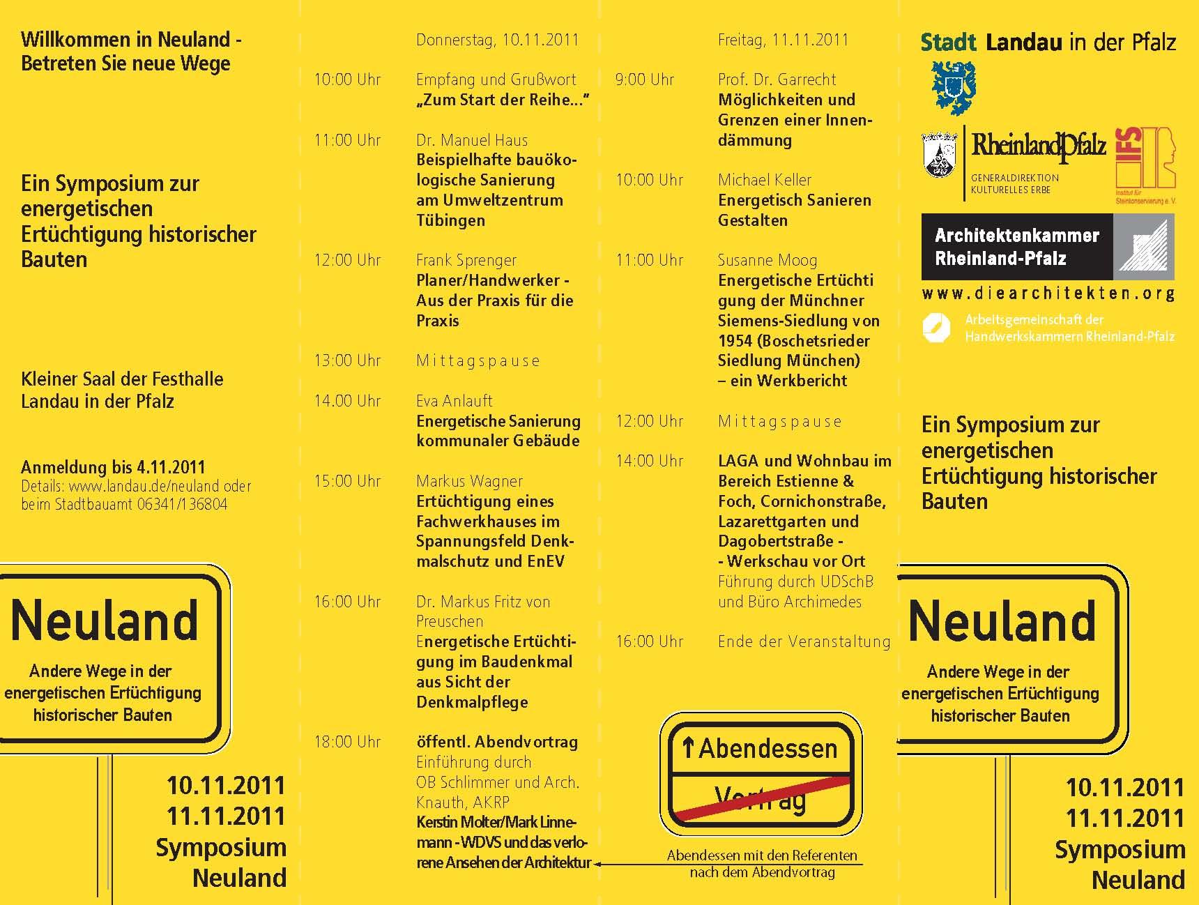 neuland 2011 ein symposium zur energetischen sanierung. Black Bedroom Furniture Sets. Home Design Ideas