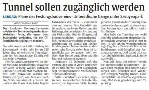 Rheinpfalz Bericht Tunnel Savoyenpark