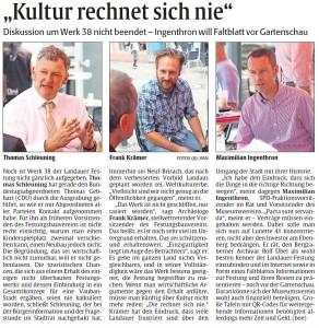 Thomas Schleuning, Frank Krämer und Max Ingenthron im Rheinpfalz Sommercafé