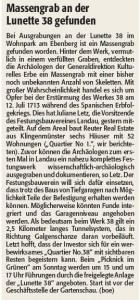 Rheinpfalz-Notiz Massengrab Lunette 38 27.6.2014