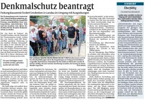 Rheinpfalz-Bericht zum Unterschutzstellungs-Antrag des Festungsbauvereins