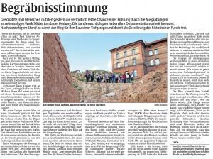 Bericht der Rheinpfalz zu den Abschiedsfuehrungen an der Lunette 38