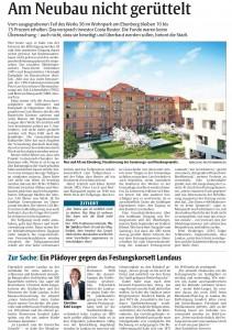Rheinpfalz-Bericht zum Planungsstand der Überbauung der Lunette 38