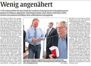 Übergabe der Unterschriften zum Erhalt der Festung Landau, Rheinpfalz-Bericht vom 9.10.2014