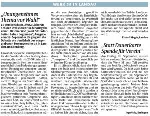Leserbriefe Rheinpfalz zur Lunette 38 vom 8.10.2014