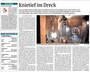 Rheinpfalz-Bericht zur Baustelle Lunette 41 im Savoyenpark