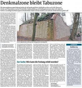 Rheinpfalz-Bericht zur Denkmalzone Festung Landau
