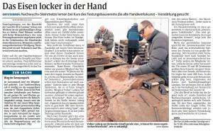 Rheinpfalz-Bericht Steinmetzkurs Festungsbauverein