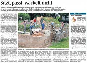 Rheinpfalz-Bericht zur Ecksteinlegung Außenmauer Lunette 41