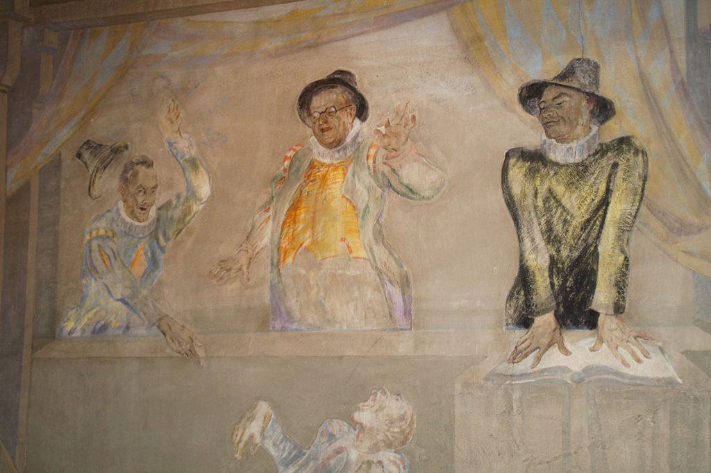 Ausschnitt aus der Seccomalerei Kesslers mit Mynheers